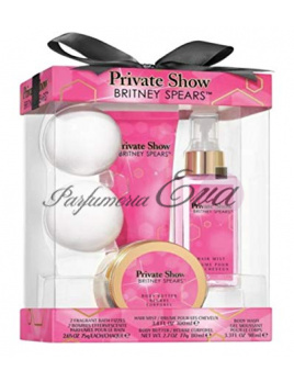 Britney Spears Private Show SET: Vlasová hmla 100ml + Sprchovací gél 98ml + Telové maslo 80ml + 2x Šumivá tableta do kúpeľa
